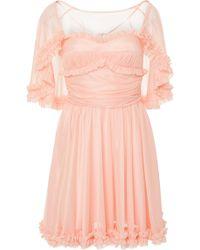 ALEXACHUNG - Ruffle Cape Georgette Mini Dress - Lyst