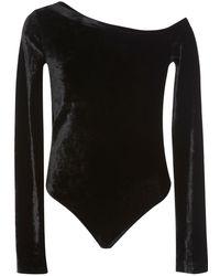 Getting Back to Square One - One-shoulder Velvet Bodysuit - Lyst
