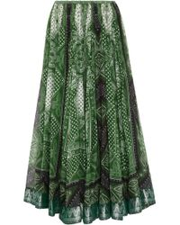 Etro - Printed A-line Cotton And Silk-blend Skirt - Lyst