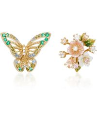Anabela Chan - M'o Exclusive 18k Yellow Gold Multi-stone Butterfly Bouquet Studs - Lyst