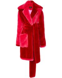 Christian Siriano - Color Blocked Faux Fur Coat - Lyst