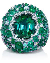 Arunashi - Titanium Green Tourmaline Emerald And Opal Ring - Lyst