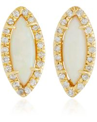Kimberly Mcdonald - 18k Gold, Opal And Diamond Stud Earrings - Lyst