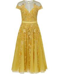 Zuhair Murad - Tiar Embroidered Silk-blend Tulle Midi Dress - Lyst