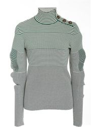 Cedric Charlier - Striped Fitted Knit Turtleneck Sweater - Lyst