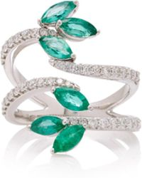 Hueb - M'o Exclusive 18k White Gold, Emerald And Diamond Ring - Lyst