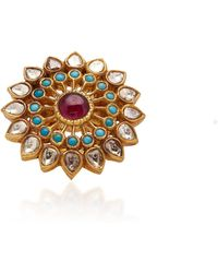 Amrapali - 18k Gold, Diamond, Ruby, And Turquoise Ring - Lyst
