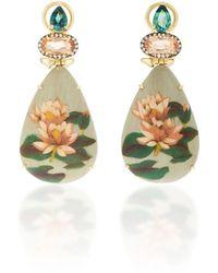 Silvia Furmanovich - Marquetry Pink Lotus Drop Earrings - Lyst