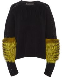 Sally Lapointe - Fur-sleeve Knit Cashmere Sweater - Lyst