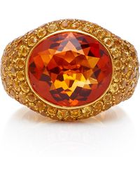 Gioia - 18k Gold, Citrine And Yellow Sapphire Ring - Lyst