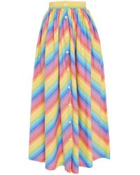 MDS Stripes - Button Front Skirt - Lyst
