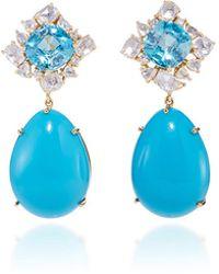 Pamela Huizenga - Blue Zircon And Diamonds With Detachable Sleeping Beauty Turquoise Drops - Lyst
