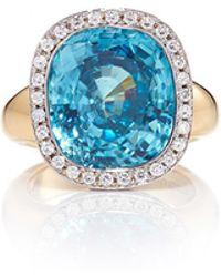Pamela Huizenga | Cushion Blue Zircon Ring Set In Diamond Nest | Lyst