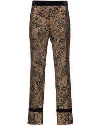 Lanvin - Gold Cloque Straight Leg Pant - Lyst