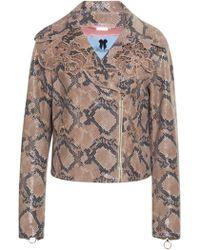 Blumarine - Embroidered Leather Jacket - Lyst