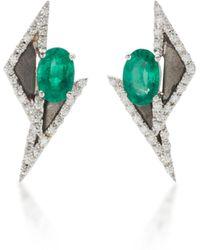Kavant & Sharart - 18k White Gold, Emerald And Diamond Earrings - Lyst