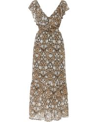 Banjanan - Marina Ruffled Floral Cotton-voile Maxi Dress - Lyst
