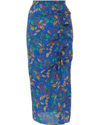 Saloni - Kelly Floral-print Silk Crepe De Chine Ruffle Midi Skirt - Lyst