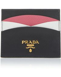 Prada - Color-blocked Textured-leather Cardholder - Lyst