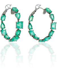 Nina Runsdorf - M'o Exclusive One-of-a-kind Emerald Mixshape Hoop Earrings - Lyst