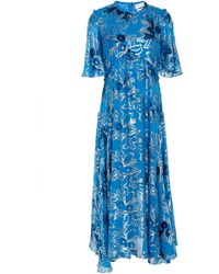 Prabal Gurung - Flutter Sleeve Metallic Floral Dress - Lyst