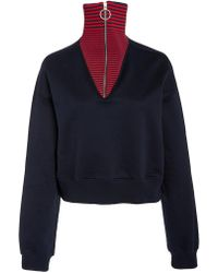 Cedric Charlier - Striped Zip-detailed Cotton Sweater - Lyst
