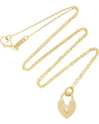 Monica Rich Kosann - 18k Gold Diamond Heart Lock Charm Necklace - Lyst