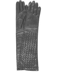 Bottega Veneta - Long Woven Leather Gloves - Lyst