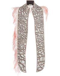 Mary Katrantzou - Feather-embellished Giraffe-print Faux Leather Shawl - Lyst