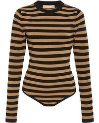 Michael Kors - Long Sleeves Striped Bodysuit - Lyst
