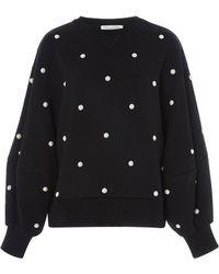 Oscar de la Renta - Faux Pearl-embellished Cotton-jersey Sweatshirt - Lyst