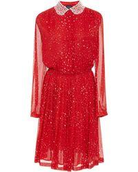 Giambattista Valli - Lace-trimmed Printed Silk-chiffon Midi Dress - Lyst
