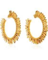Rebecca de Ravenel - Metal Petal Hoop Earrings - Lyst