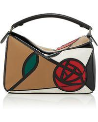 Loewe - Puzzle Floral-embellished Leather Bag - Lyst
