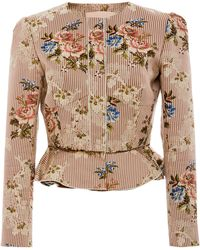 Brock Collection - Janet Printed Cotton And Silk-blend Peplum Jacket - Lyst