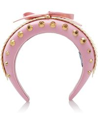 Prada - Sequin Studded Satin Headband - Lyst