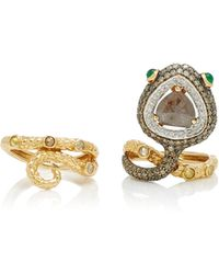 Wendy Yue - Convertible 18k Gold, Diamond And Emerald Ring - Lyst