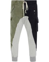 Greg Lauren - Patchwork-effect Cotton And Wool Track Trousers - Lyst