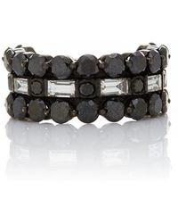 Colette - 3d Black Diamond Ring - Lyst