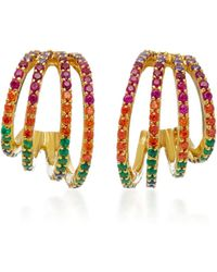 Joanna Laura Constantine | Gold-plated Rainbow Crisscross Hoop Earrings | Lyst