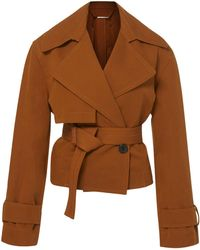 Vince - Cropped Belted Linen-cotton Jacket - Lyst