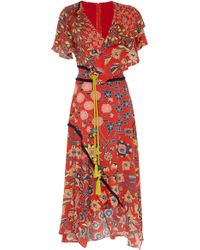 Peter Pilotto - Printed Silk Sash Dress - Lyst