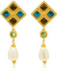 Ben-Amun - Gold-plated, Crystal And Faux Pearl Earrings - Lyst