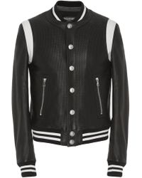 Balmain - Teddy Leather Varsity Jacket - Lyst