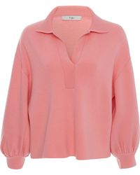 Tibi - Bell Sleeve Polo Neck Pullover Sweater - Lyst