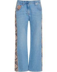 Blumarine - Leather Panel Jeans - Lyst