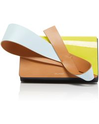 Delpozo - Orchid Panelled Patent And Smooth Leather Clutch - Lyst