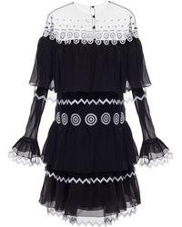 Yanina Demi Couture - Embroidered Illusion Neckline Mini Dress - Lyst