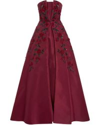 Elizabeth Kennedy - Strapless Rose Embroidered Gown - Lyst