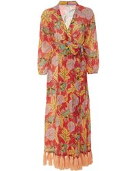 Rhode Resort - Lena Tasseled Floral-print Cotton Wrap Dress - Lyst